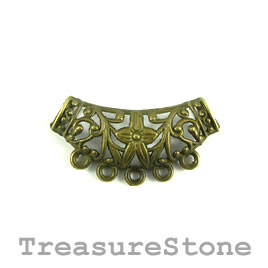 Pendant/Link/connector,brass-plated, 38x20mm, filigree. Pkg of 4