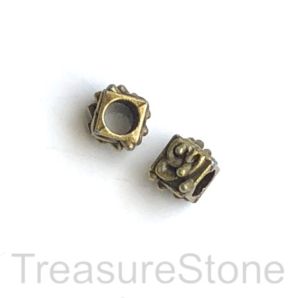 Bead, brass finished, 7mm cube, large hole, 4.5mm. Pkg of 12.