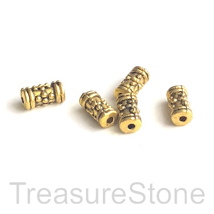 Bead, gold-finished, 4x8mm tube. Pkg of 20