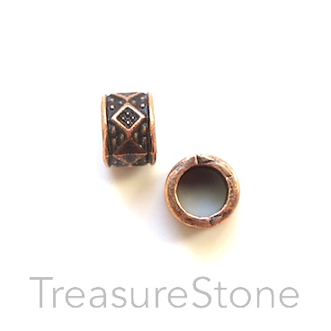 Bead, copper Finished, 5x7mm tube, large hole, 4mm. 12pcs