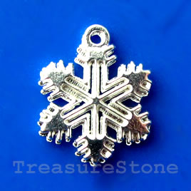 Charm, bright silver-finished,12mm snowflake. Pkg of 15.