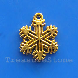 Pendant/charm, gold-finished, 12mm snowflake. Pkg of 15.