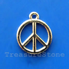 Pendant/charm, rhodium-finished, 15mm peace symbol. Pkg of 10.