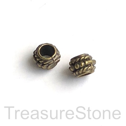 Bead, antiqued brass finished, 5x7mm drum, large hole, 4mm. 15