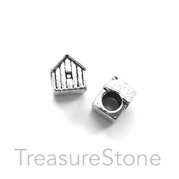 Bead, silver-colored, 9x10mm house, large hole, 4mm. Pkg of 10.