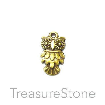 Charm/pendant, brass-plated, 12x17mm owl. Pkg of 12