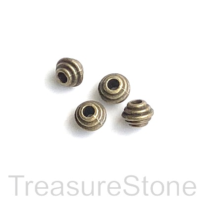 Bead, antiqued brass finished, 5x6mm . Pkg of 20