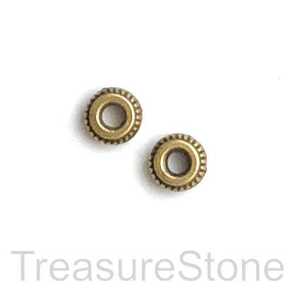 Bead, brass finished, 7mm rondelle, large hole, 2.5mm. 20pcs