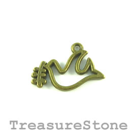 Charm, brass-plated, 22x12mm bird. Pkg of 12.