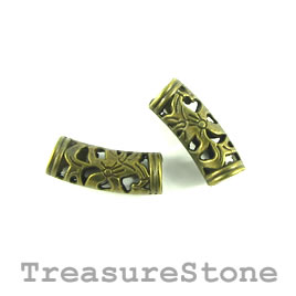 Bead, brass finished. 7x20mm tube, filigree. Pkg of 8.