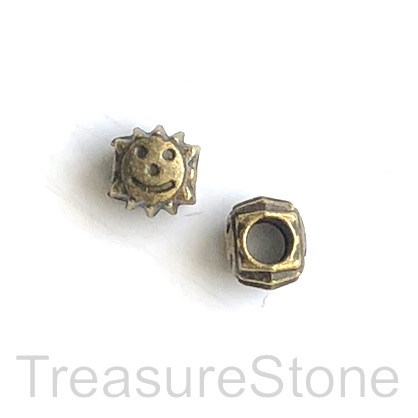 Bead, brass finished, 9mm sun, happy face, large hole, 4.5mm. 10