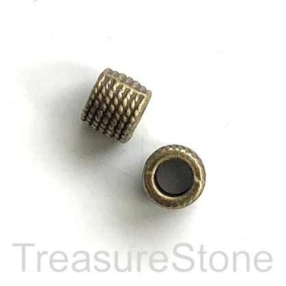 Bead, brass finished, 7x8mm tube, large hole, 5mm. Pkg of 10.