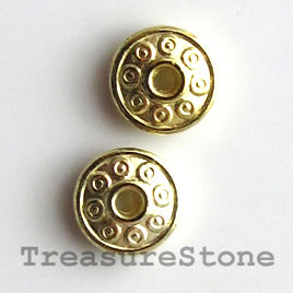 Bead, bright gold-finished, 7mm saucer. Pkg of 25.