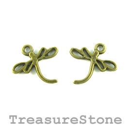 Charm, brass-plated, 18x14mm dragonfly. Pkg of 15.