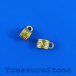 Bead, charm hanger, gold-finished, 5mm tube w loop. Pkg of 20