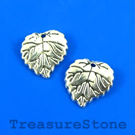 Charm, silver-plated, 15mm leaf. Pkg of 12.
