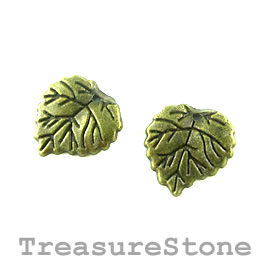 Charm, brass-colored, 15mm leaf. Pkg of 12.