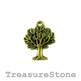 Charm/Pendant, brass-plated, 17x18mm tree. Pkg of 6.