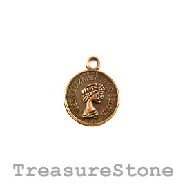 Charm, copper-plated, 12mm coin. Pkg of 15.