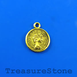 Charm, gold-plated, 12mm coin. Pkg of 15.
