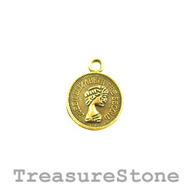 Charm, light gold-plated, 12mm coin. Pkg of 15.