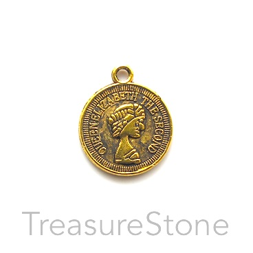 Charm/Pendant, gold-plated, 15mm coin. Pkg of 8.