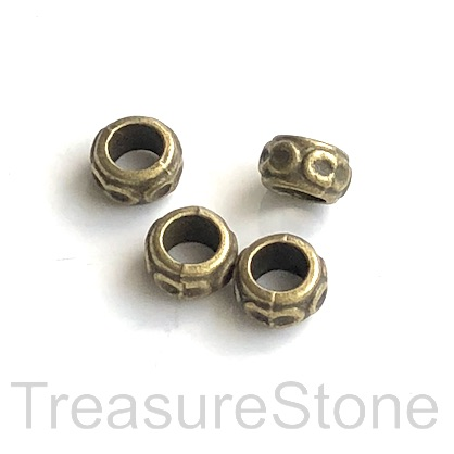Bead, brass finished, 3x6mm rondelle, large hole, 3.5mm. 20pcs