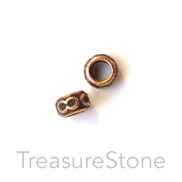 Bead, copper-colored, large hole, 4x6mm ring/circle. 30pcs