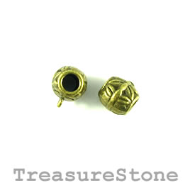 Bead, charm hanger, brass finished. 10mm tube w loop. Pkg of 12