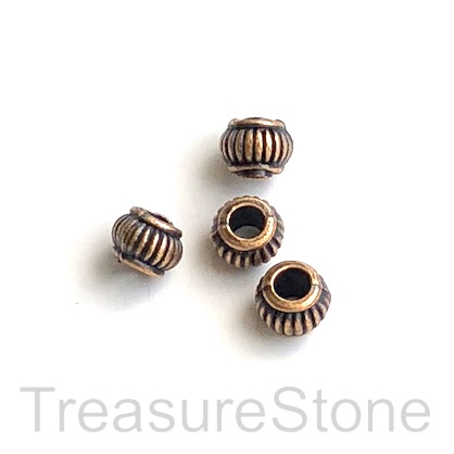 Bead, copper finished, 5x7mm barrel/ rondelle, large hole,3mm.16