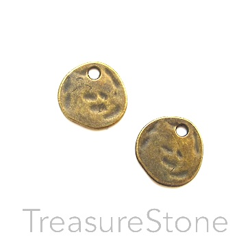 Charm, brass-finished, 11mm hammered disc. Pkg of 15.