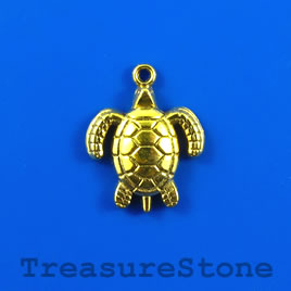 Charm/pendant, gold-plated, 19mm turtle. Pkg of 6.