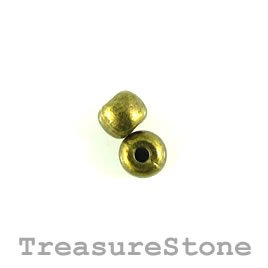 Bead, brass finished. 6x5mm rondelle. Pkg of 20.