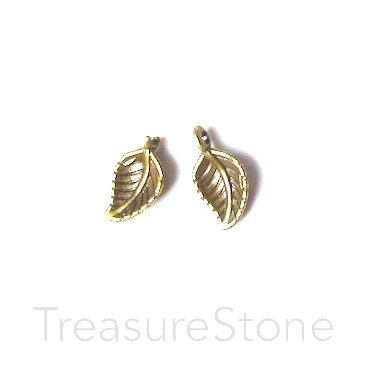 Charm, brass finished, 7x11mm leaf. Pkg of 12