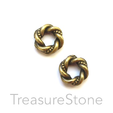 Bead frame, brass-finished, 11mm circle, Pkg of 15