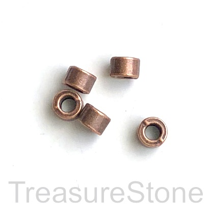 Bead, copper finished, 4x6mm tube, large hole, 3mm. Pkg of 15.