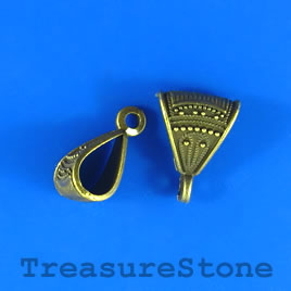 Bail, pendant, charm hanger,brass_plated, 13mm w loop. Pkg of 6.