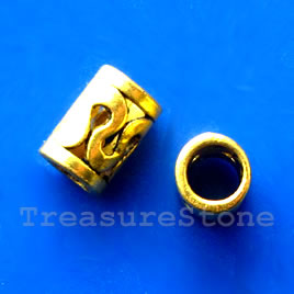 Bead, gold-finished, large hole, 7x10mm tube. Pkg of 15.