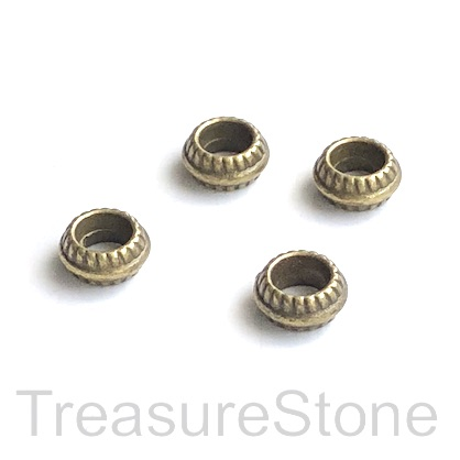 Bead, brass finished, 3x7mm wheel/ rondelle, large hole, 5mm.20