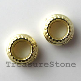 Bead, bright gold-finished, large hole, 4x7mm. Pkg of 20.