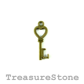 Charm, brass-plated, 8x20mm key. Pkg of 15.