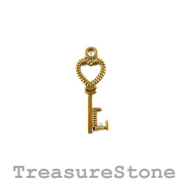Charm, gold-plated, 8x20mm key. Pkg of 15.
