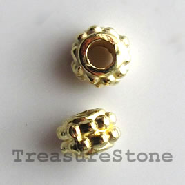 Bead, bright gold-finished, 4x6mm. Pkg of 20.
