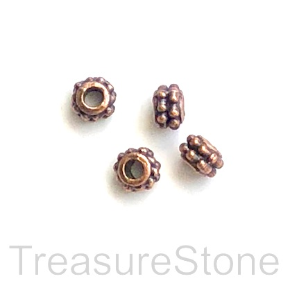 Bead, copper finished, 4x6mm dotted tube. 20pcs