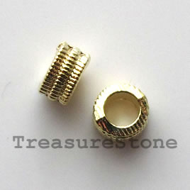 Bead, bright gold-finished, large hole, 3x6mm. Pkg of 20.
