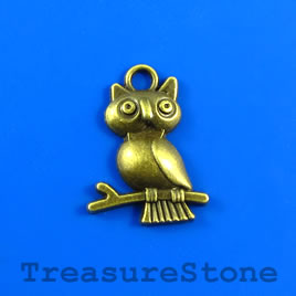 Charm/pendant, brass-plated, 17x20mm owl. Pkg of 10.