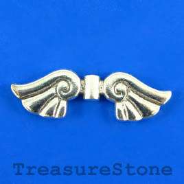 Bead, silver-finished, 14x43mm angel wing. Pkg of 4.