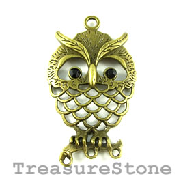 Pendant/connector,brass-finished,35x53mm owl, filigree. Pkg of 2