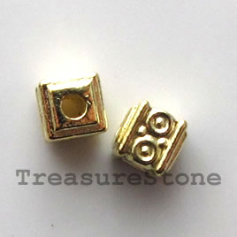 Bead, bright gold-finished, 5mm cube. Pkg of 20.