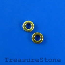 Bead, brass-finished, 6mm circle. Pkg of 28.